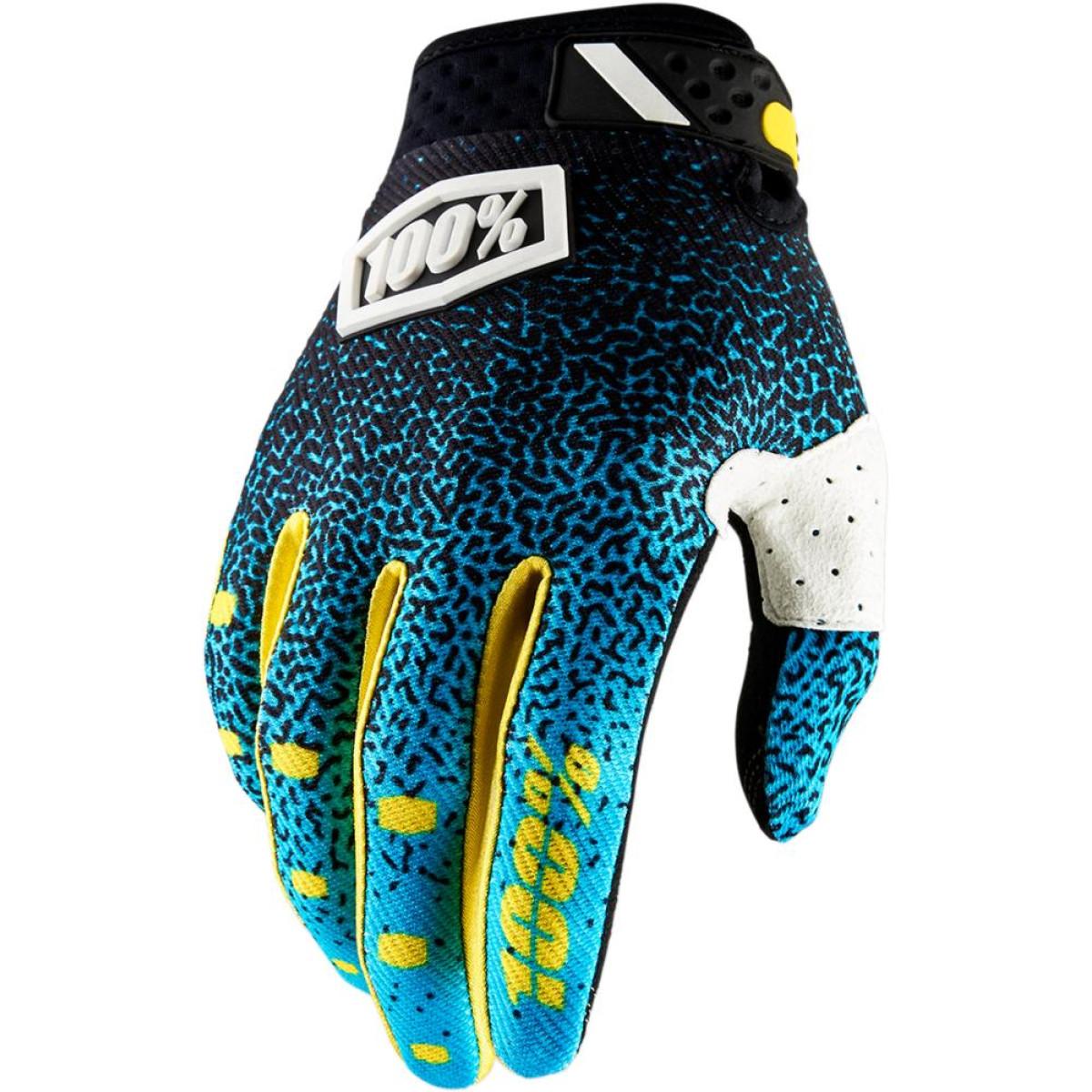 Motokrosové rukavice 100% RIDEFIT Cyan Black 2018 vel. L  35da0c3937
