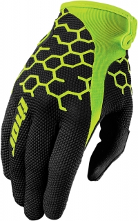 Motokrosové rukavice THOR DRAFT COMB BLACK/ FLO yellow  vel. XL