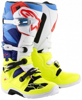 a Motokrosové boty ALPINESTARS TECH 7 yellow flo/white/blue/cyan vel. 43