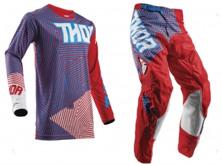 A Motokrosový komplet THOR PULSE GEOTEC RED/BLUE 36+XL