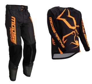 a Motokrosový komplet MOOSE RACING M1 AGROID ORANGE/BLACK 42 + 3XL