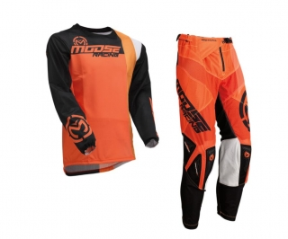 a Ventilační motokrosový komplet MOOSE RACING SAHARA BLACK/ORANGE vel. 34+L