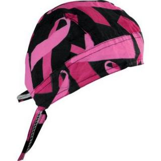 Šátek na hlavu ZANHEADGEAR FLYDANNA HEADWRAPS Breast cancer, black/pink ribbon