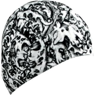 Šátek na hlavu ZANHEADGEAR FLYDANNA HEADWRAPS Black and white ornate pattern