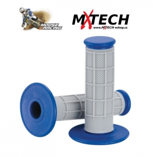 Motokrosové gripy MOOSE RACING Gray/Blue Qualifier 1/2 Waffle Grips