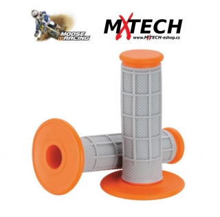 Motokrosové gripy MOOSE RACING Gray/Orange Qualifier 1/2 Waffle Grips