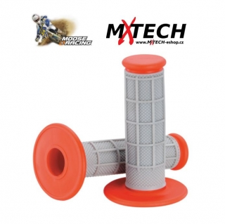 Motokrosové gripy MOOSE RACING Gray/Red Qualifier 1/2 Waffle Grips