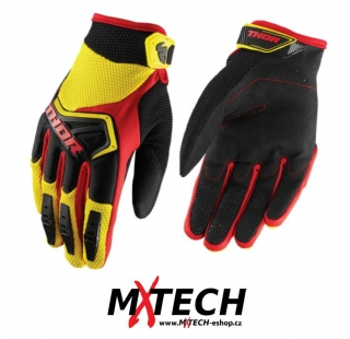 a Motokrosové rukavice THOR SPECTRUM YELLOW/BLACK/RED VEL. S