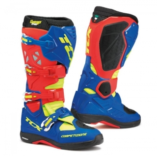 Motokrosové boty boty TCX COMP EVO MICHELIN® red/bright blue/yellow fluo