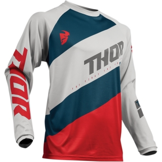 Motokrosový dres THOR SECTOR SSHEAR LIGHT GRAY/RED